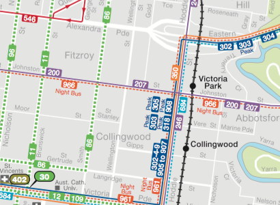 PTV Local Area Maps: Yarra