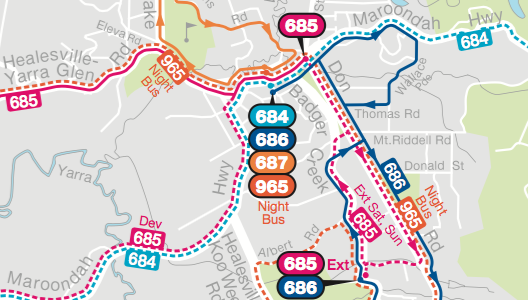 PTV Local Area Maps: Yarra Ranges