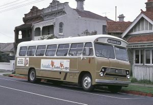 JWY 759, a 1967 Bedford SB5/ Comair in the later light brown livery is seen at Brighton Beach laying over between trips on route 632. (Bruce Tilley)